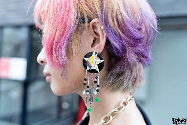Unicorn Earrings & Pink-Purple Hair