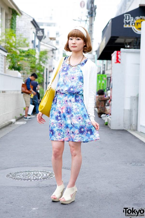Floral Dress, Uniqlo Cardigan, Bob Hairstyle & Wedges in Harajuku