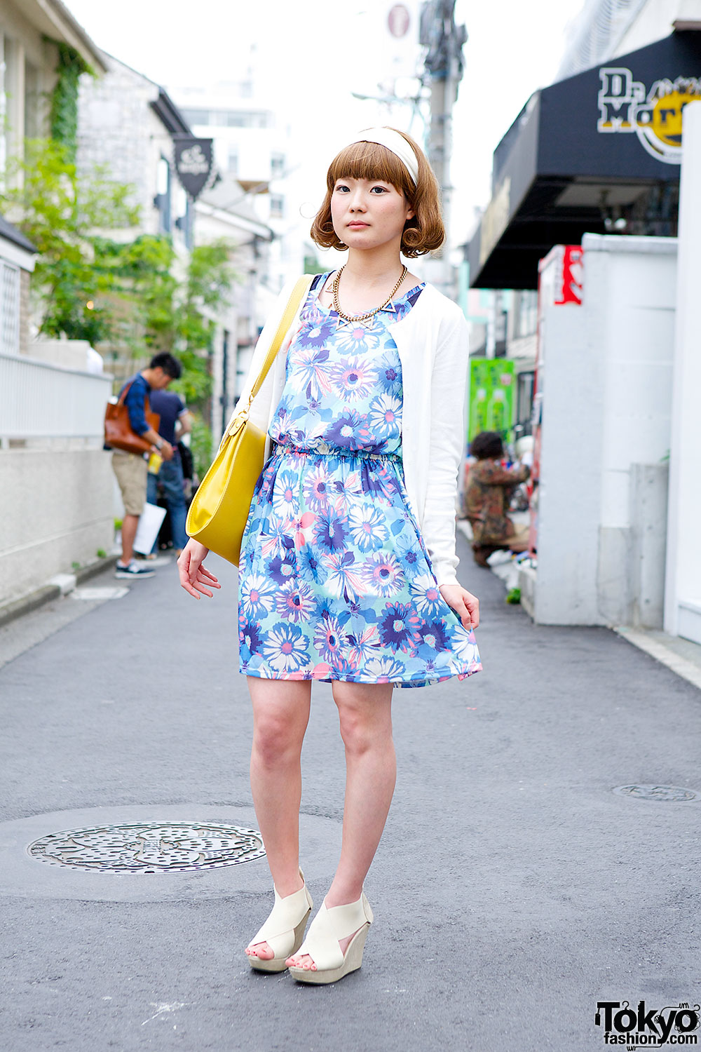 Floral Dress, Uniqlo Cardigan, Bob Hairstyle & Wedges in Harajuku