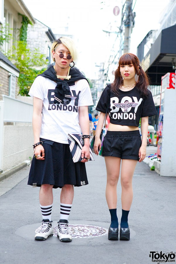 Boy London Matching Tops w/ Bone Necklace & Tokyo Bopper in Harajuku