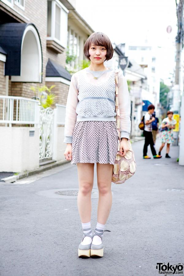 Tsumori Chisato Net Bag w/ Sheer Top, Print Dress & Aquvii in Harajuku