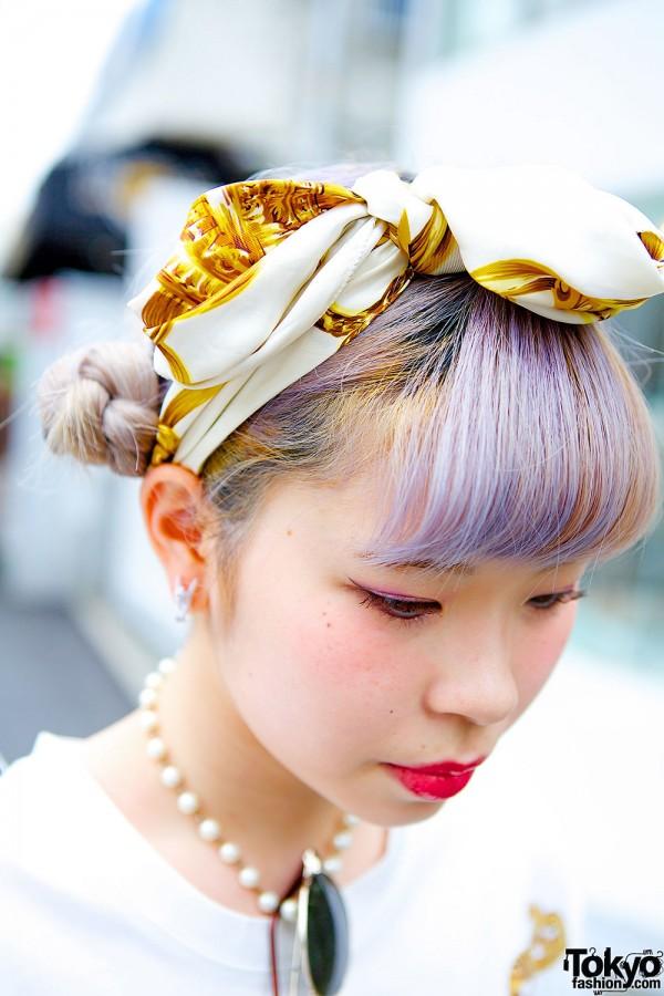 Lilac Hair & Chanel Scarf