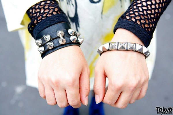 Studs and leather bracelets