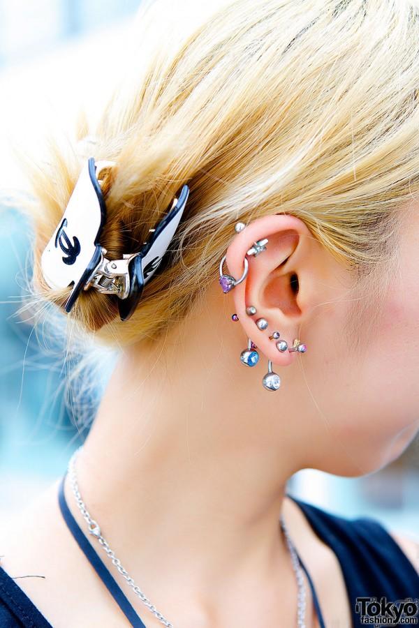 Ear Piercings & Chanel Hair Clip