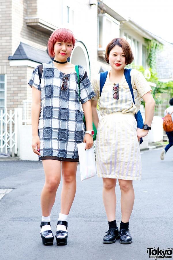 I am I Stripes, Pink Hair, Sandals & Lips Earrings in Harajuku