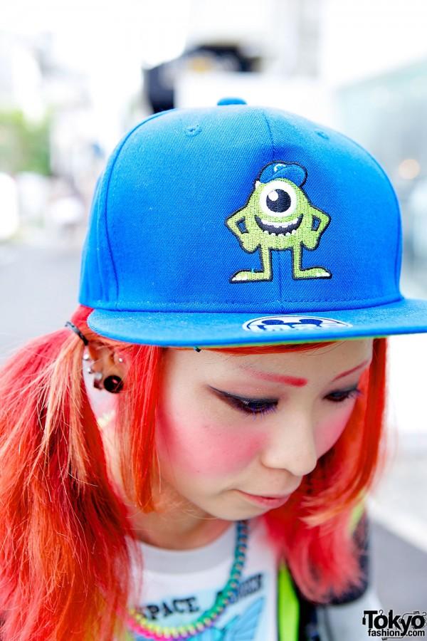 Monsters Inc Cap & Pink Hair