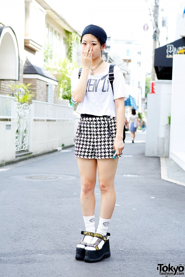K3&Co Platform Sandals, Houndstooth Shorts & Pin Nap in Harajuku