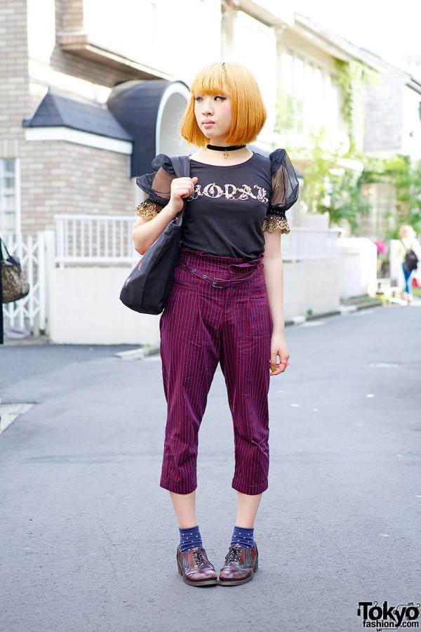 Rolick Striped Pants, Ashinaga-Ojisan Brogues & Dolly Girl in Harajuku