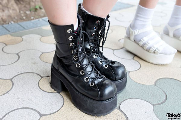 Chunky Platform Boots in Harajuku