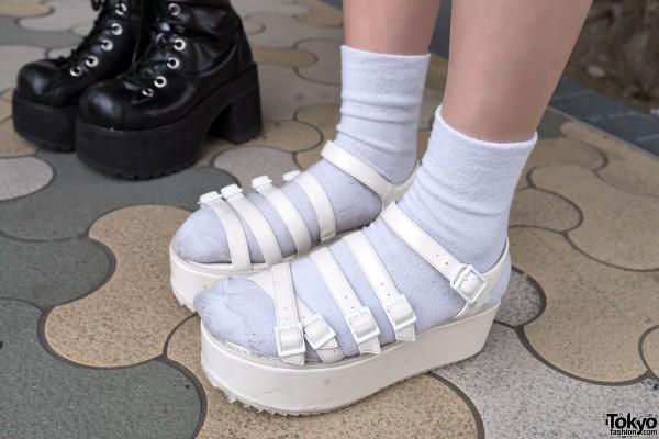 Strappy Platform Sandals With Socks