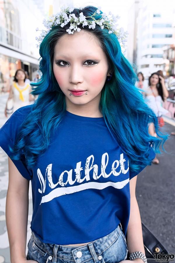 Blue Hair, Flower Crown & Piercings