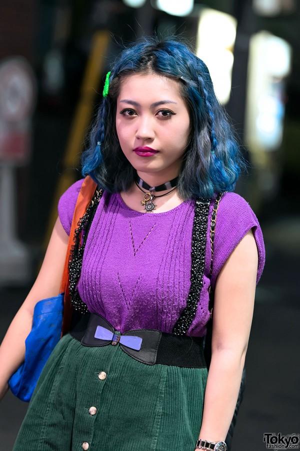 Blue Hair & Choker in Harajuku