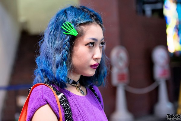 Blue Hair & Skeleton Hand Hair Clip