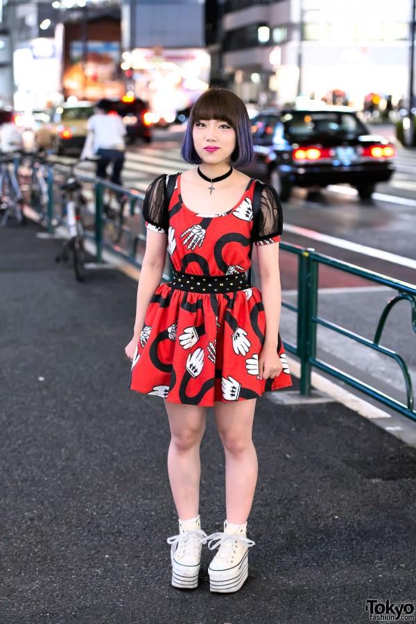 Glad News Mouse Dress, Purple Hair & Jouetie Backpack in Harajuku