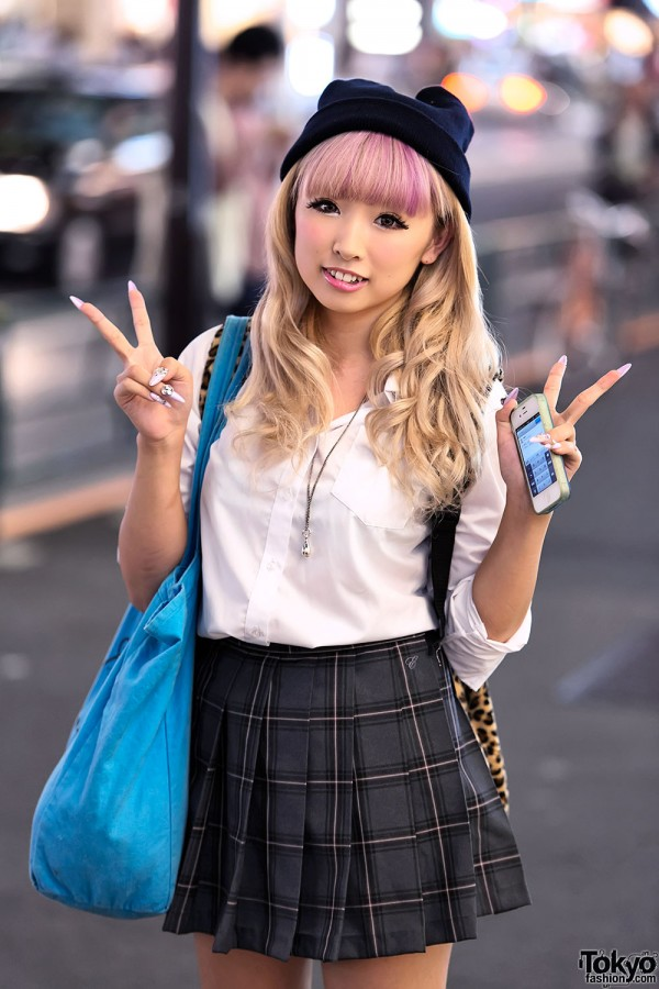 Pink Hair, Plaid Skirt & Peace Signs