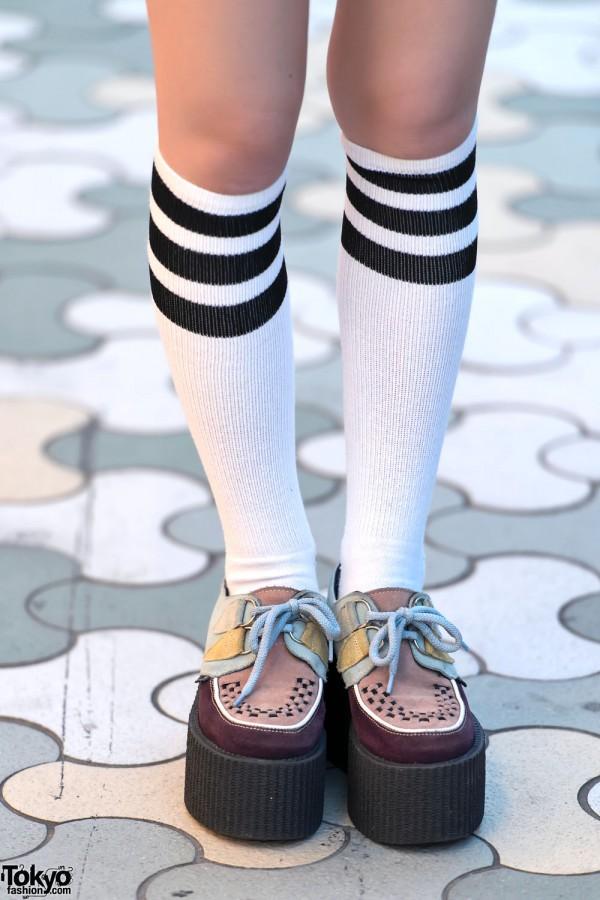 Striped Tube Socks & Underground Creepers