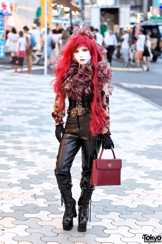 Shironuri Minori W Long Red Hair Corset Platform Boots In Harajuku