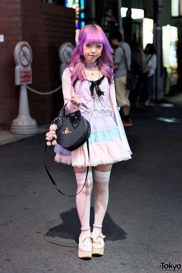 Lunatic Lemony Lollipop Skirt, Pink Hair & Tokyo Bopper in Harajuku