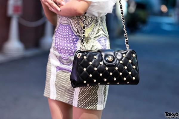 Quilted Jeweled Shoulder Bag