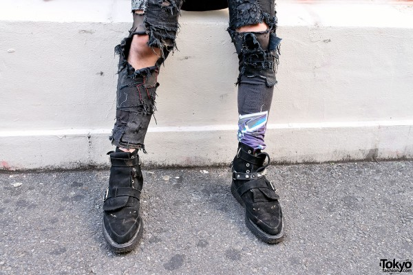 Ripped Patched Punk Jeans