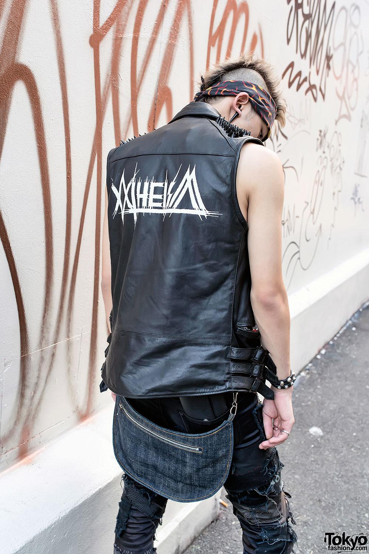 Harajuku Punk Style W Mohawk Leather Vest Creepers