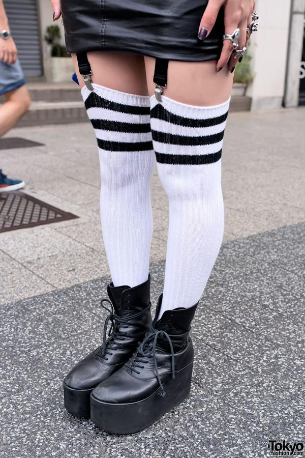 Over-The-Knee Striped Tube Socks & Tokyo Bopper