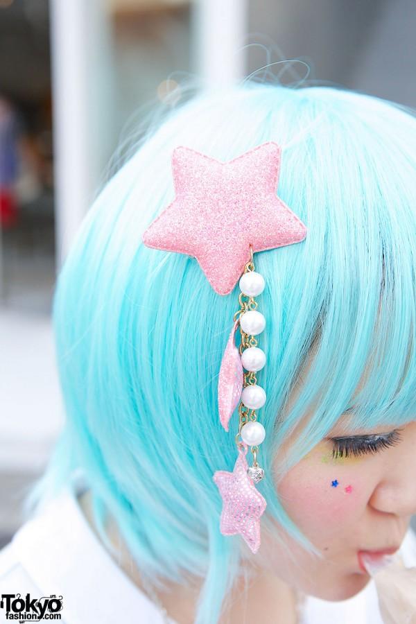 6%DOKIDOKI Stars Hair Clip & Blue Hair