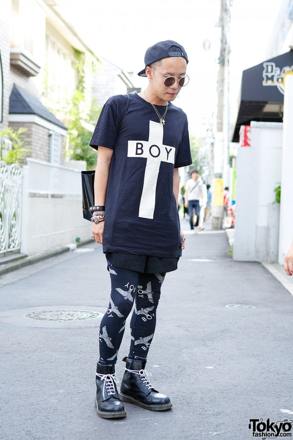 Harajuku Guy in Boy London, Dr. Martens & Chrome Hearts