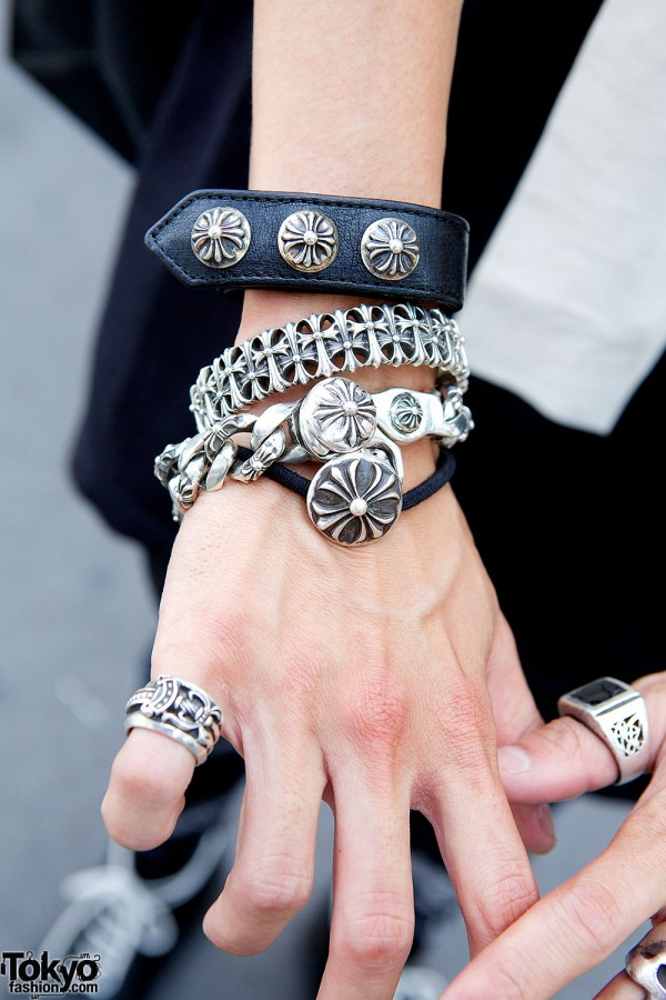 Silver and Leather Bracelets in Harajuku