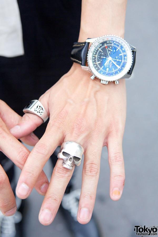 Silver Skull Ring & Breitling Watch