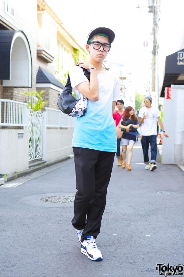 Green Haired Harajuku Guy w/ Glasses, Ombre T-shirt & Mugler Pants