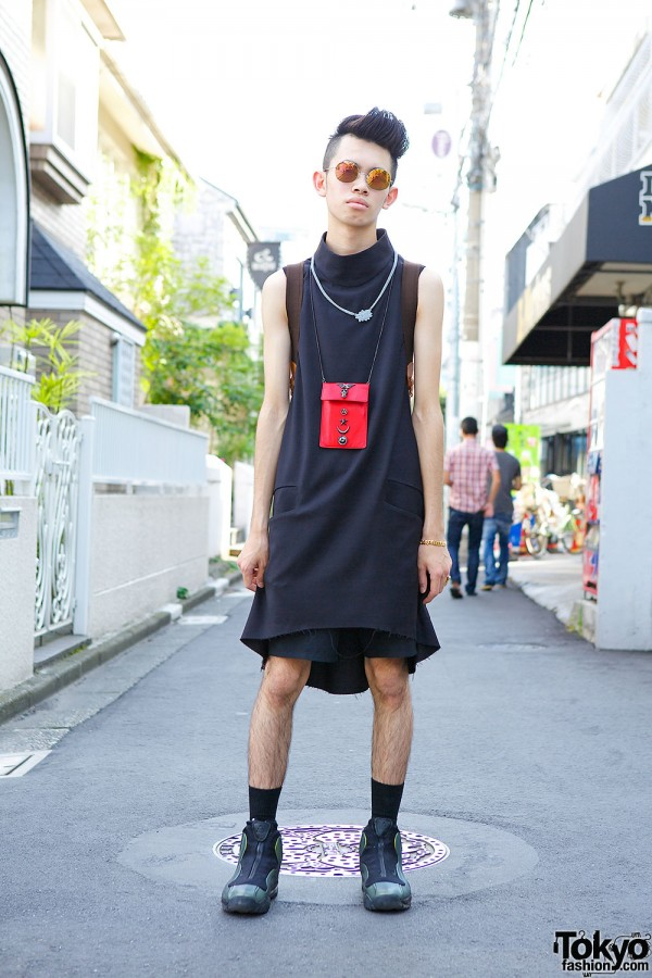 Harajuku Guy w/ Cool Shaved Hairstyle, Sise Top & Nike Sneakers