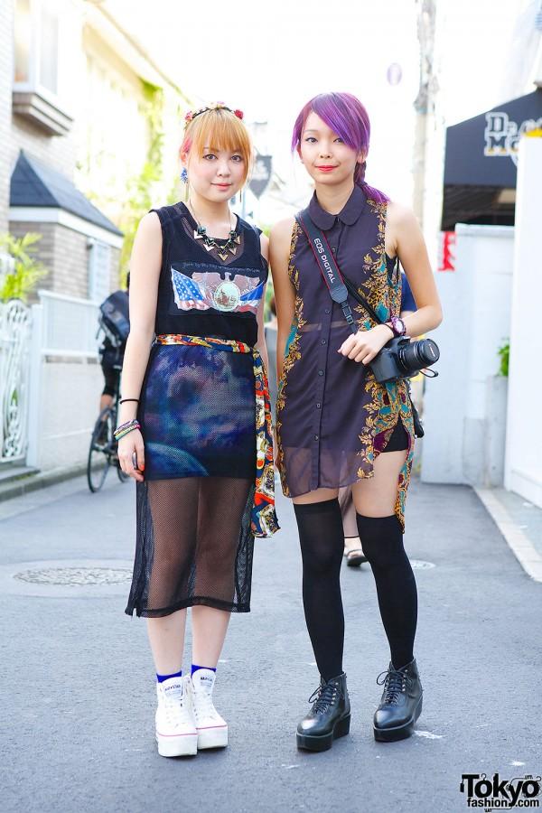 Pink & Purple Hair, Sheer Layers, Over-The-Knee Socks & Platforms in Harajuku