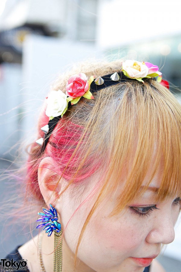 Flowers & Spikes Headband