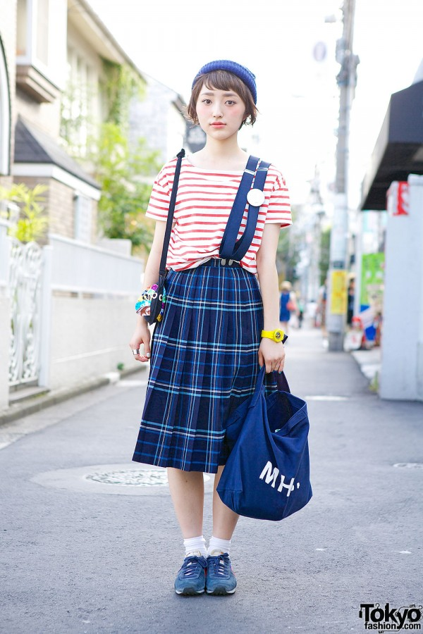 Striped Muji Top & Plaid Skirt
