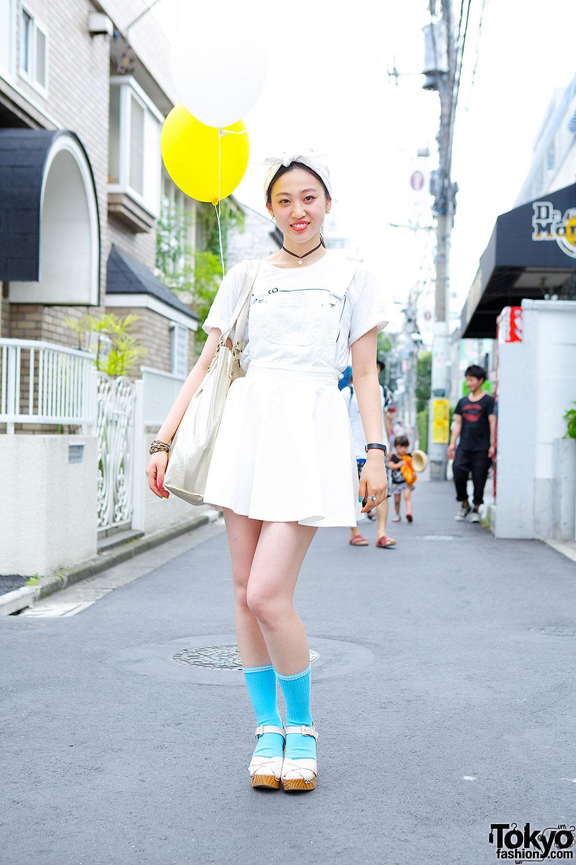 Bubbles Pinafore Over Zara T-Shirt