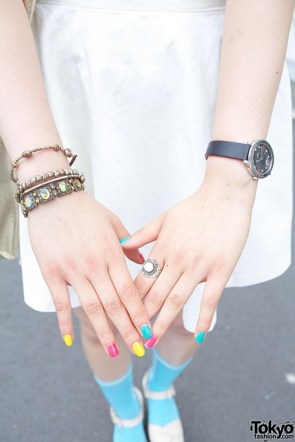 Bracelets, Watch & Pastel Nails