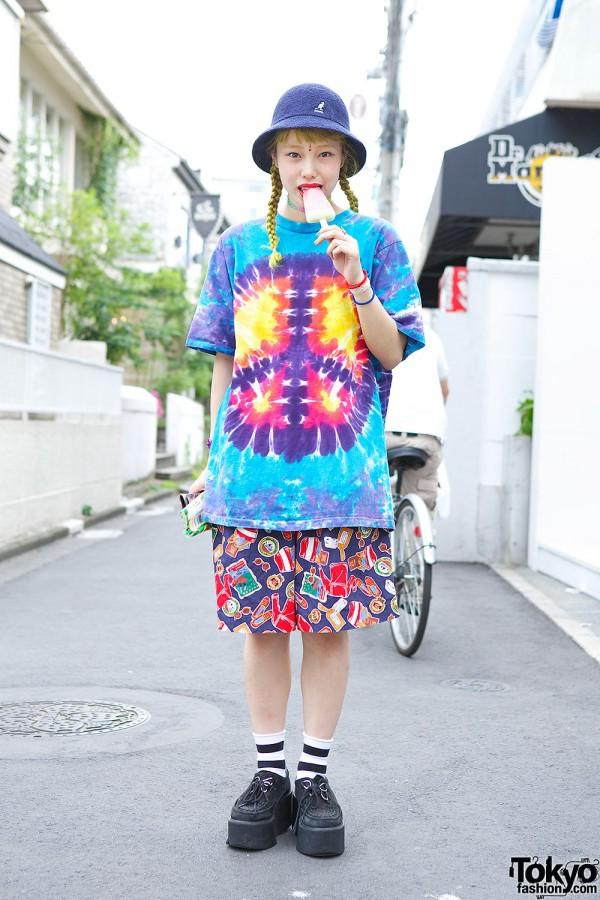 Yellow Hair w/ Nadia Harajuku Tie-dye, Bindi & Creepers