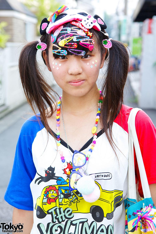 Decora Style In Harajuku W Neon Tutu Hair Clips Amp Panda Mask