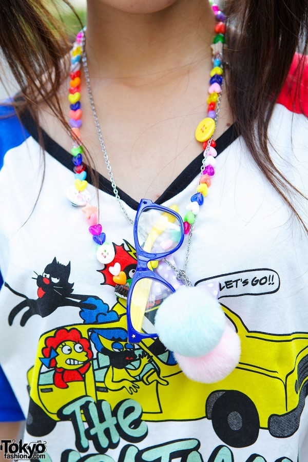 Colorful Necklace, Glasses & Pompoms
