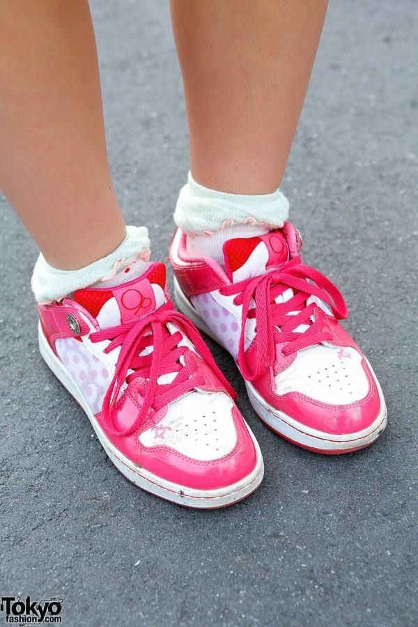 Pink Sneakers in Harajuku