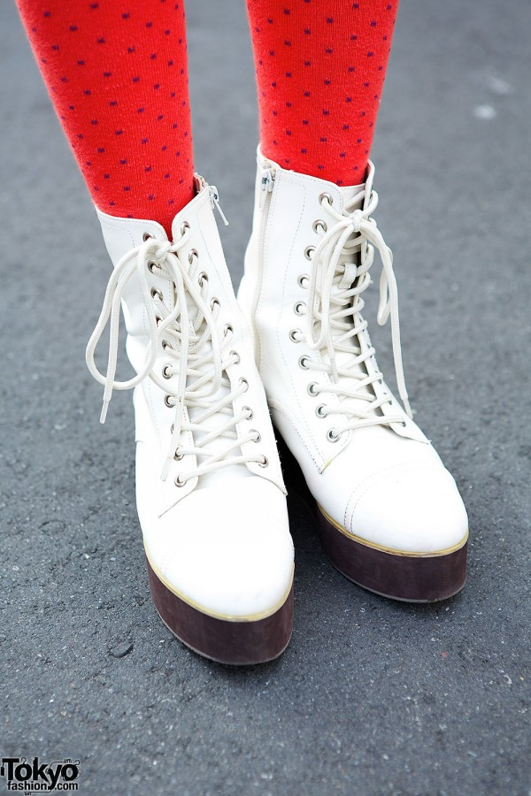 White Platform Lace-up Boots