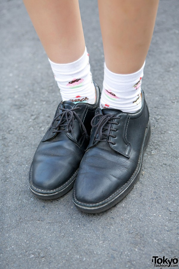 Cupcake Socks & Black Oxfords