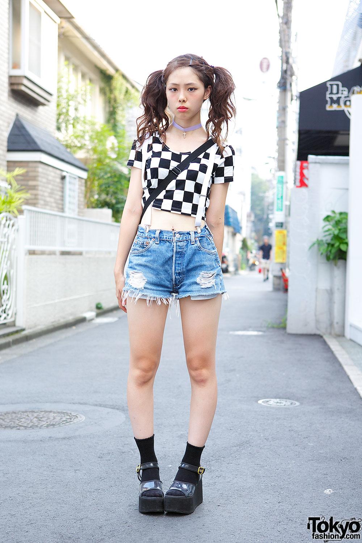 Cute Twin Tails W Crop Top Suspenders Denim Cutoff Shorts