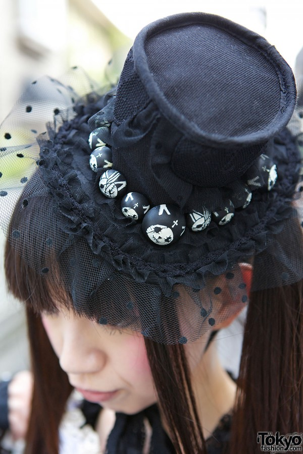Black Top Hat With Skulls