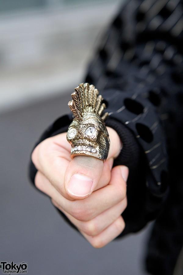 Mohawk Silver Skull Ring