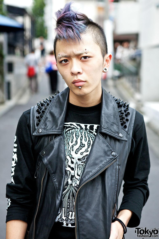 Japanese Hardcore Fan W Lilac Mohawk Studded Vest