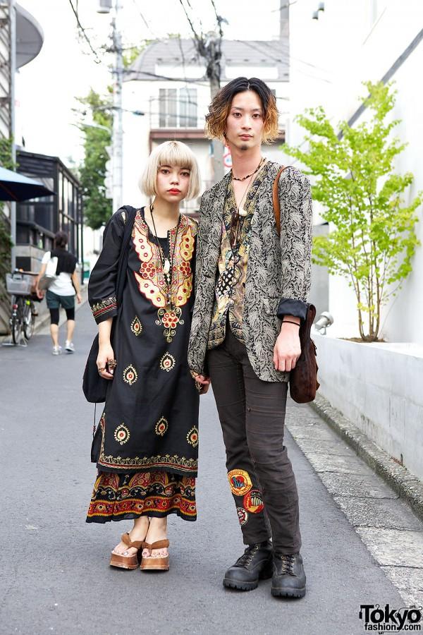 Harajuku Duo in Ethnic Prints & Tunics w/ Qosmos Accessories & Elephant Bag