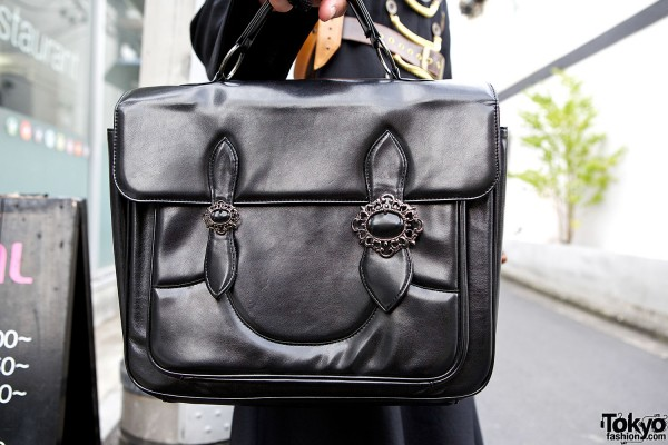 Black Peace Now Leather Briefcase