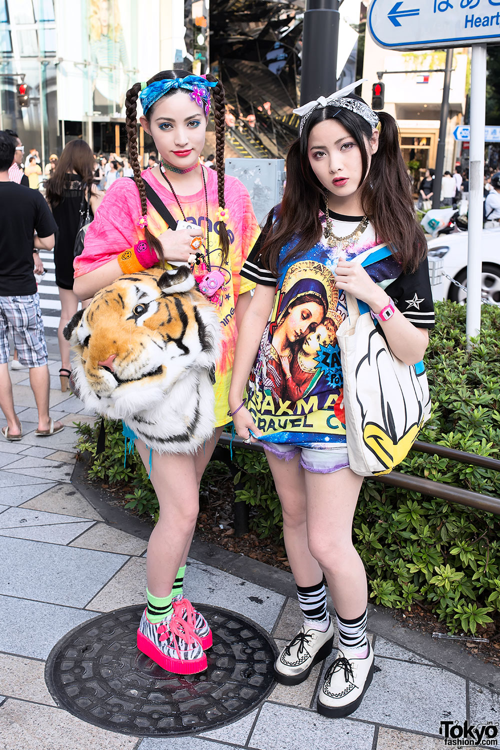 Sisters In Harajuku W Twintails Tie Dye Tiger Head